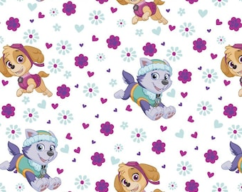 Paw Patrol Pup Power Characters on White Fabric / Paw Patrol by David Textiles 4048 / Paw Patrol by the  Yard and  Fat Quarters