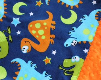 Travel Pillowcase - Dinosaur Print Minky with Orange Dimple Dot Border - great for a Toddler or Travel Pillow