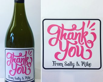 Thank you personalised wine/champagne/prosecco bottle sticker.