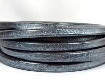 25% Off Regaliz Licorice Leather - Metallic Pewter - RM15 - Choose Your Length