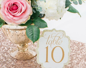 Gold Table Numbers- Scalloped in white or ivory layered on sparkly gold glitter