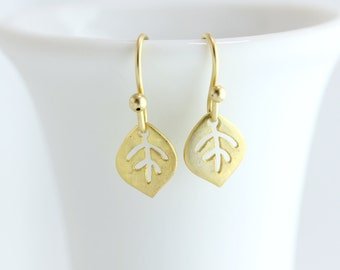 Tiny Gold Earrings, Gold Leaf Earrings, Small Gold Earrings, Simple Gold Earrings, Gold Dangle Earrings, Gold Drop Earrings, Matte Gold Leaf