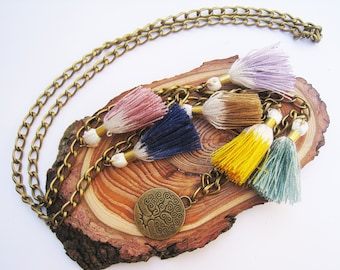 Long ombre tassel necklace, Multi tassel necklace, Boho necklace, Summer jewelry,Faux suede Cord Necklace, Bohemian jewelry