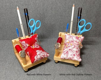 Sewing Caddy - Red with Flowers and White with Red Outline Flowers