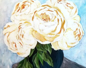 White acrylic peonies painting on canvas, original painting of peony flowers, white flowers, original acrylic painting, white peonies,