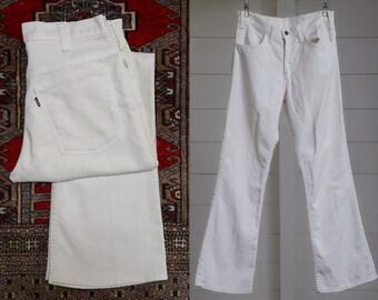 60s Levis Big E Sta Prest White Hippie Trousers 31 x 31