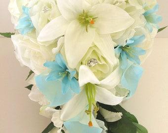 "17 piece Wedding Bouquet package Bridal Bouquets Artificial Silk flowers Cascade CREAM AQUA Blue Calla LILY flower set ""RosesandDreams"""