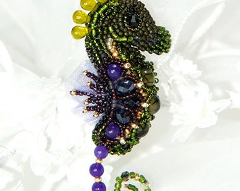 Bead embroidered seahorse brooch | MADE TO ORDER | ooak | Statement brooch | Seahorse pin | Unique birthday, anniversary gift for her