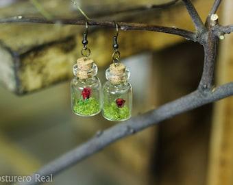 Tiny Bottle Vial Red Rose Earrings