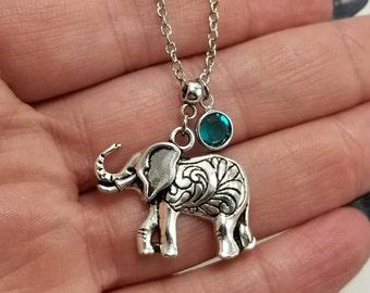 Elephant Necklace, Silver Elephant Necklace With Birthstone, Paisley Elephant, Elephant Jewelry, Elephant Birthstone Necklace