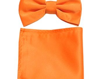 Men's Solid Orange Pre-Tied Bowtie and Handkerchief, for Formal Occasions
