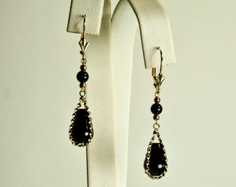 14 solid yellow gold teardrop 12x8mm & 4mm round  natural black Onyx earrings lever backs