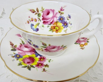 Royal Grafton Pink Roses Tea Cup and Saucer, Floral Pattern, Gift for Her, Afternoon Tea Party
