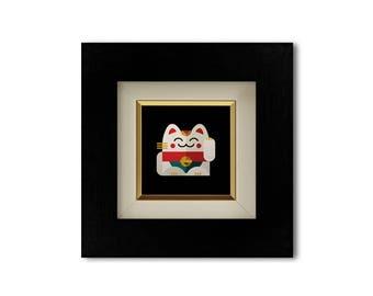 Maneki Neko illustration - Left paw | Fortune cat | Framed print | Giclee print | Good luck charm | Illustration series | Gift | Home decor