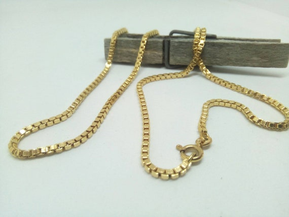 9ct Yellow Gold Box Chain - 9k White Gold Box Chain Necklace 50cm Unisex