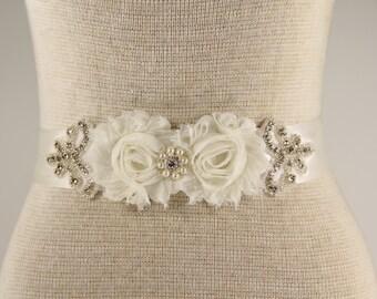 Sash - Customizable Bridal Sash - Wedding Belt, Ivory Wedding Sash, Ivory Rhinestone Bridal Sash, prom, wedding, bridesmaid, flowergirl sash