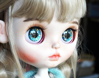 Eye Chips for Neo Blythe Doll Custom - Starry Night Green Blue Gold Metallic Paints Hand painted Realistic Eyechips - FREE Shipping
