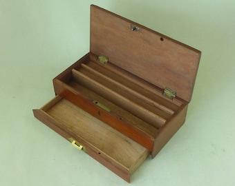 Victorian Watercolour Paint Box Mahogany Brass Antique