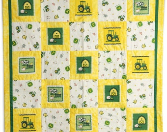 John Deere Tractor Baby Quilt: Yellow, Green and White