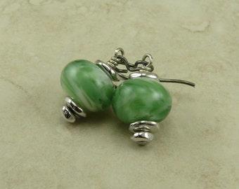 Emerald Isle Lampwork Bead Earrings > St Patricks Day Irish Green Bridal Spring Easter - Hypoallergenic Niobium Ear Wires E2-29