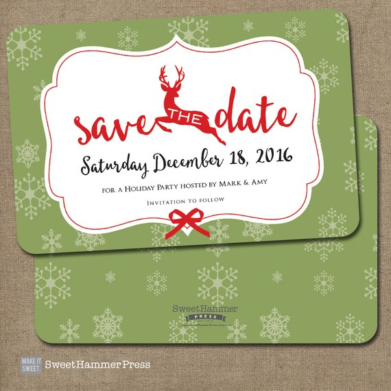 reindeer save the date christmas party invitation red white. Black Bedroom Furniture Sets. Home Design Ideas