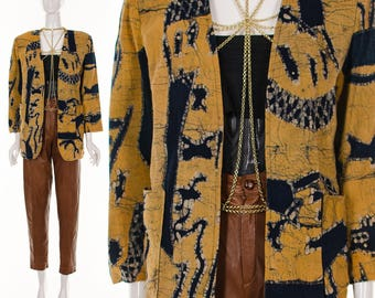 Mustard and Navy BATIK Linen Cotton Jacket Ethnic Open Style Kimono Jacket MINIMALIST Abstract Art Print Boho Blazer Jacket Small Medium