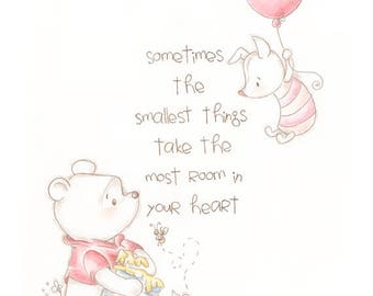 Winnie the Pooh print, classic pooh, home decor, wall art print, quote