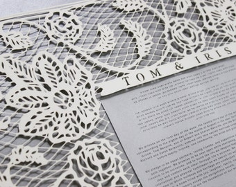 Customized papercut ketubah / wedding vows (framed): vintage lace