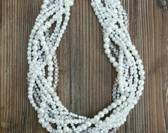 Customized Braided Pearl Necklace - Pearl Necklace - Bridal Jewelry