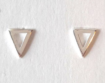 Minimalist Triangle Geometric Stud Earrings Sterling Silver 925