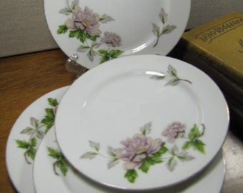 Set of Four (4) Se Yei - Peony - Open Stock - Bread and Butter Plates - Wide Lip - Gold Accent Rim