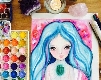 Soul Painting - soul portrait, watercolor portrait, custom art portrait, mixed media art, guidance, reading, life purpose, spiritual gift