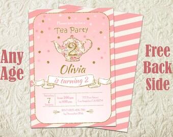Tea Party Birthday Invitation, Floral Tea Party Invitation, Girls Tea Party Invitation, Tea Party Invites, Tea Party Theme, Tea Pot Invite