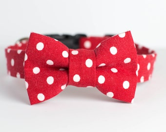 Holiday Dog Collar with Bowtie - Red & White Polka Dots