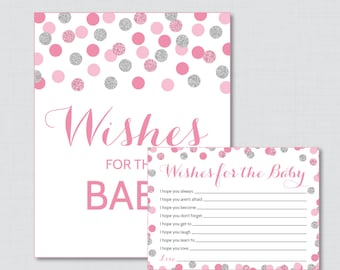 Pink and Gray Wishes for Baby Baby Shower Activity - Printable Well Wishes for Baby Cards and Sign - Instant Download - Pink Silver 0023-P