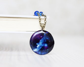 Cosmic Galaxy Blue Necklace - Space jewelry
