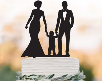 Family Wedding Cake topper with child, bride and groom wedding cake topper with little boy, funny wedding cake topper with kid,