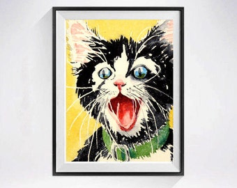 Tuxedo cat, Black cat, Happy print, Sale, Happy Sign, Happy Cat Prints, Cat wall art, Inspirational, Watercolor, Nursery Art,