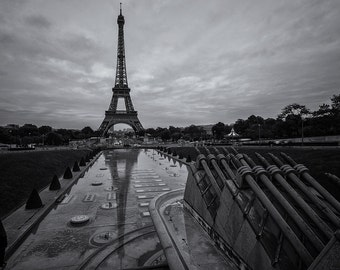 Trocadero Reflection, Eiffel Tower, Paris, Black and White, Romantic, Love, France - Travel Photography, Print, Wall Art