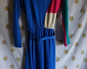 1980s Toni Petite Colorblocked Dress, Size 4