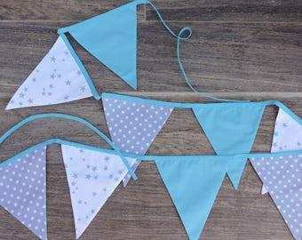 Garland fabric flags plain blue polka dot stars