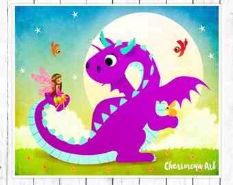 Fairy Dragon Art Print Dragon Art Print Children's Art Pink Dragon Poster Cute Dragon Fairy Print Dragon Wall Art Girls Room Decor Baby Gift