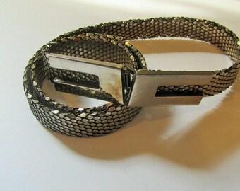 Vintage Snake Scales Mesh Belt Narrow Metal Belt Vintage Metallic Silver Belt Hook Clasp Womans Accessories Small