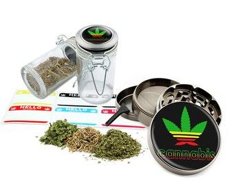 """Leaf Design - 2.5"""" Zinc Alloy Grinder & 75ml Locking Top Glass Jar Combo Gift Set Item # G123114-0023"""