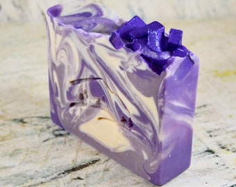 Amethyst Handmade Soap, February, Cold Process Soap, Goat Milk Soap, Shea Butter Soap, Cocoa Butter Soap, Homemade Soap, Handcrafted Soap
