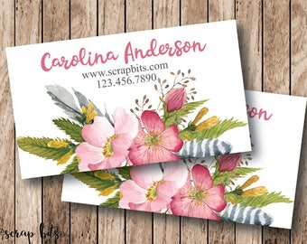 Custom Business Cards, Floral Business Cards, Premade Business Cards, Watercolor Flowers - Digital or Printed