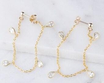 Cubic Zirconia Teardrop Dangle Earrings, Tiny CZ Teardrop Dangle Earrings in Gold, Minimal Earrings, Gift For Her, Simple Gold Earrings
