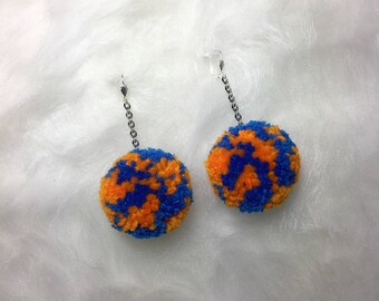 Limited Edition Handmade Detroit Tigers Pom Pom Earrings