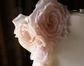 Pink Silk Rose Millinery Corsage for Bridal, Millinery MF 118