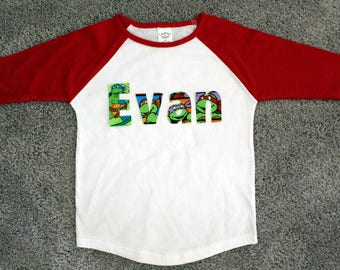 Boys Personalized Baseball Tee - Ninja Turtles,  Birthday Shirt,  Personalized Shirt,